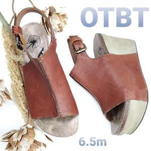 OTBT Brown Leather Slingback Sports Wedge 6.5